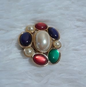 Vintage Avon Pearly Jeweled Round Brooch Pin